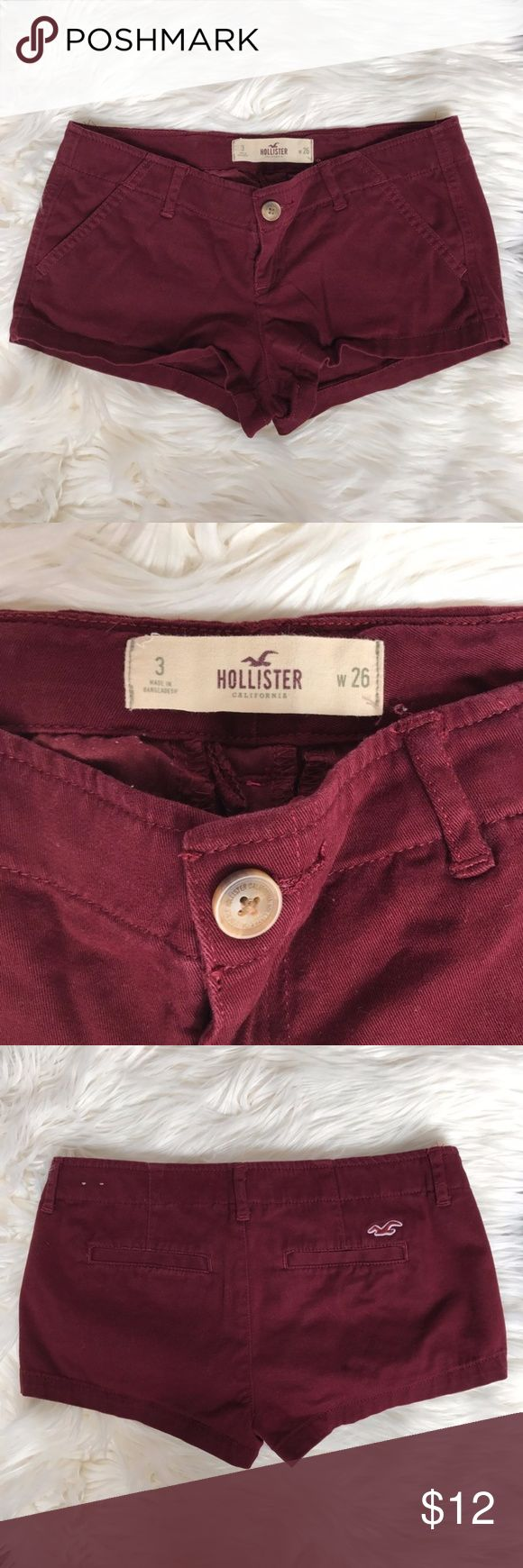 Hollister Maroon Shorts Size 3 W26 Item: 