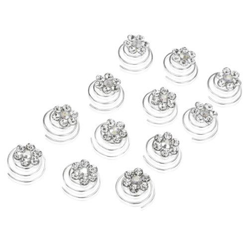 Rhinestone Flower Bridal Wedding Hair Twisters Pack of 12 ** More info could be found at the image url.(This is an Amazon affiliate link and I receive a commission for the sales)