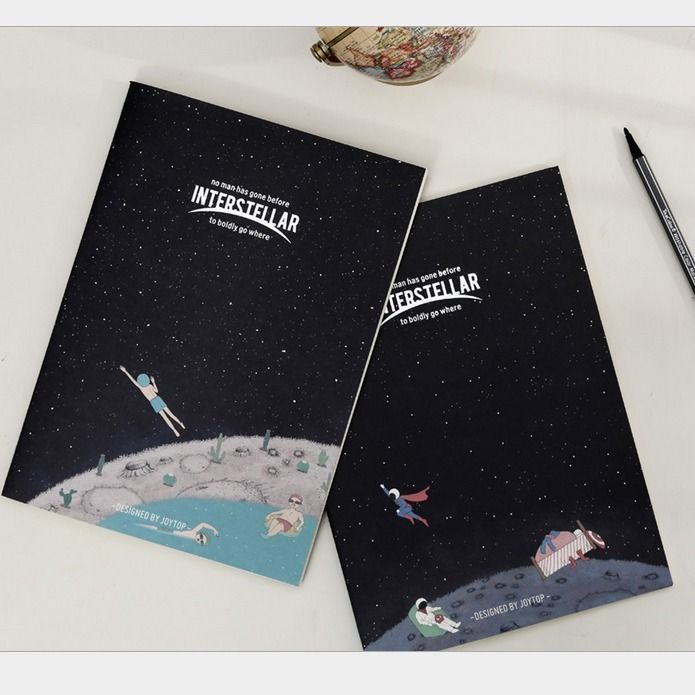 """""""Interstellar"""" Pack of 4 Lined Study Work Notebook Diary Exercise Book Notepad  #Unbranded"""