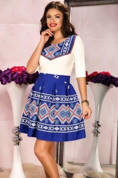 Rochie albastra traditionala in clos