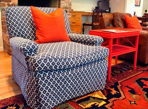 geometric patternLiving Rooms, Chairs Fabrics, Colors, Living Room Chairs, Chairs Want, Navy Chairs, Blue Orange, Big Boys Room, Big Boy Rooms