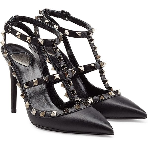 Valentino Valentino Cash & Rocket Leather Rockstud Stiletto Pumps (2.745 BRL) ❤ liked on Polyvore featuring shoes, pumps, heels, valentino, high heels, black heeled shoes, pointy-toe pumps, black leather pumps, high heel stilettos and black t strap pumps