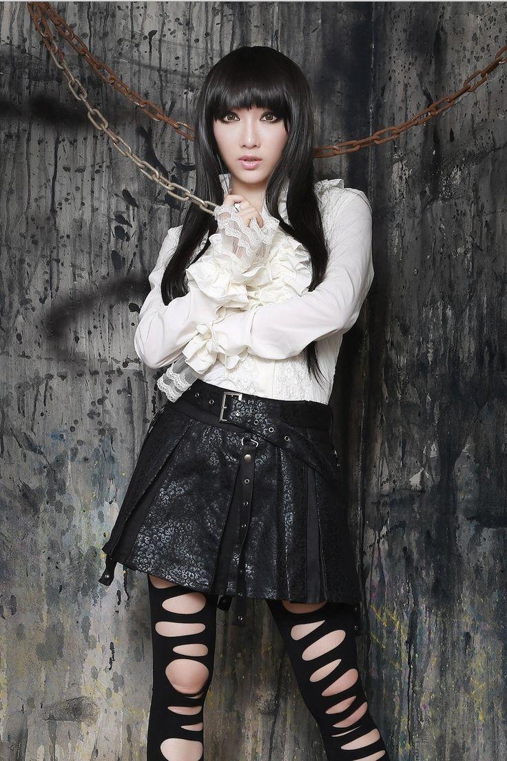 Czarna krótka spódniczka syntetycznea skóra mini punk, V-Kei