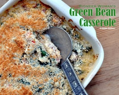 Pioneer Woman's Green Bean Casserole. Text, photograph and recipe © Kitchen Parade from A Veggie Venture, All Rights Reserved.