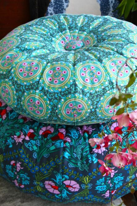 Amy Butler's Cameo Fabrics with Honey Bun Poufs (sewing pattern available).
