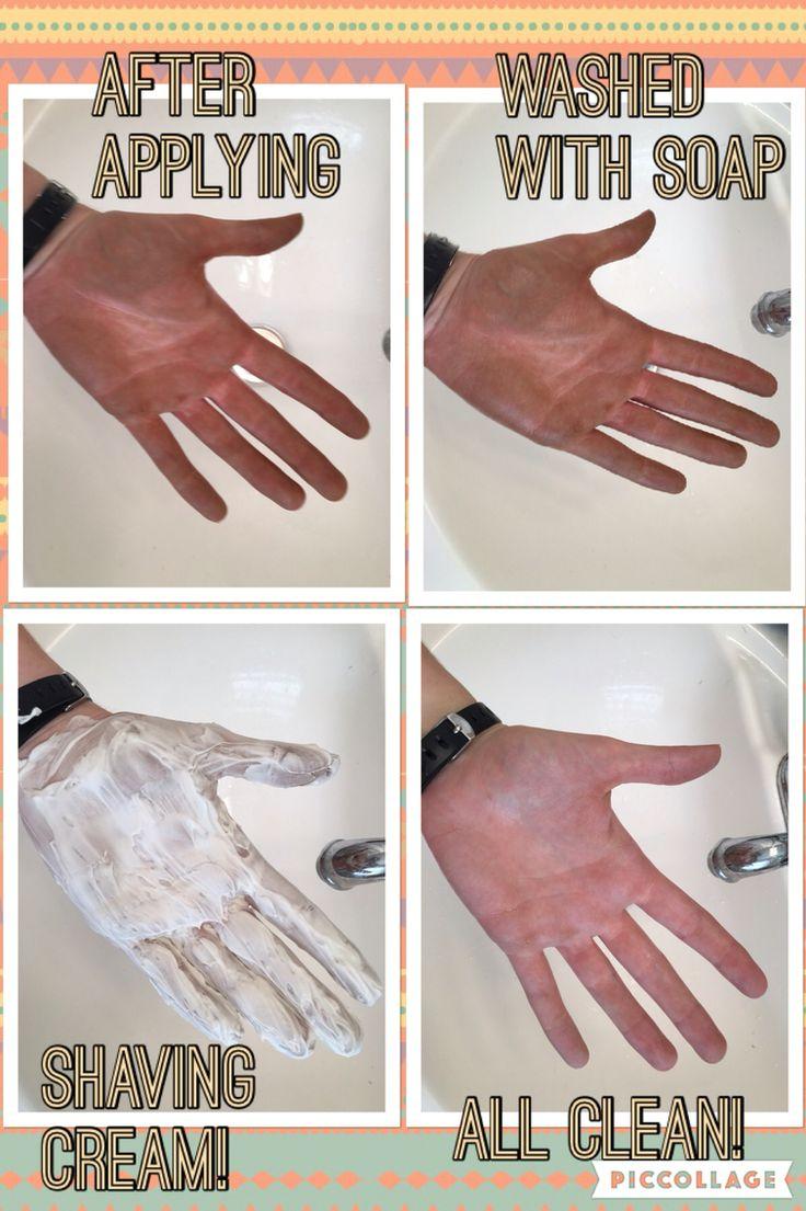 Shaving cream removes self tanner!!! Any kind should work!!!