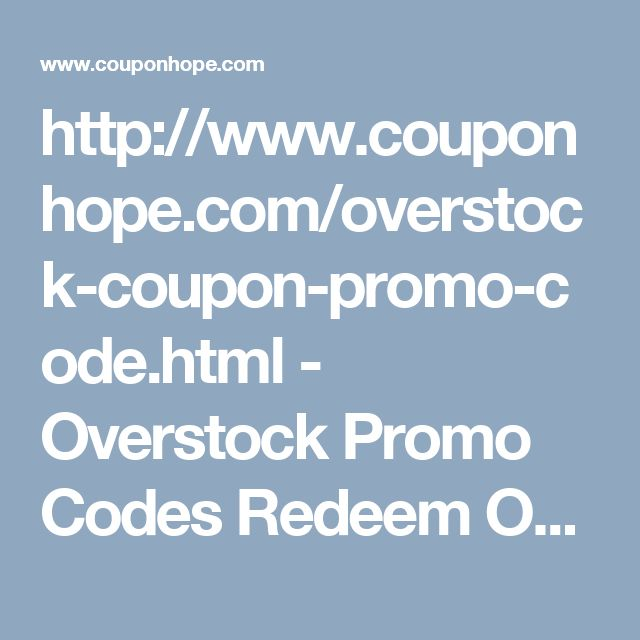 http://www.couponhope.com/overstock-coupon-promo-code.html - Overstock Promo Codes  Redeem Overstock promo codes and get best prices on your purchases. Claim discounts of up to 20% on indoor and outdoor furniture available at Overstock. CouponHope.com has all the latest promotional offers from Overstock. Online shoppers can make use of these and save on their shopping bills. #overstockcoupon, #overstockcoupon20, #overstock15offcoupon