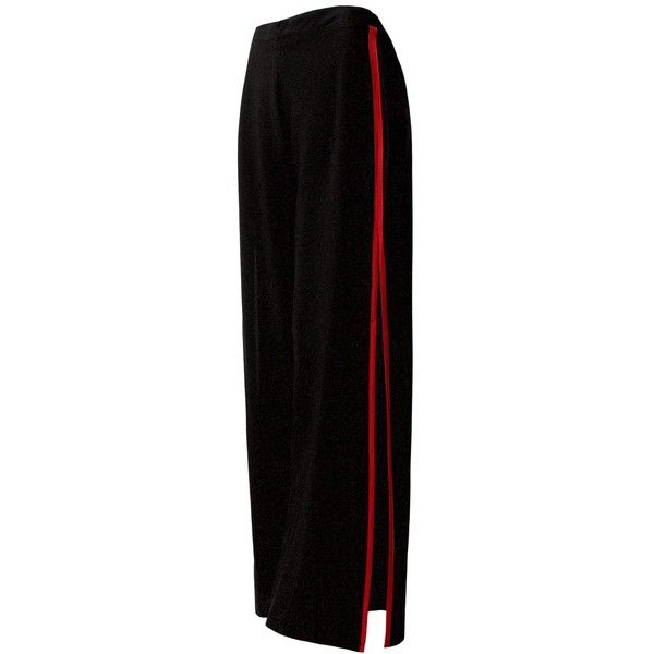Sans Souci Red stripe contrast open-slit palazzo pants ($29) ❤ liked on Polyvore featuring pants, high waisted pants, elastic waist pants, red pants, high-waisted trousers and striped palazzo pants
