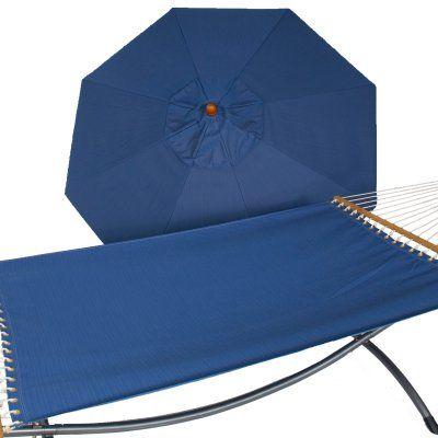 Phat Tommy 9 ft. Wood Sunbrella Umbrella and Hammock Set - 330/350-COMBO.BIRDSEYE