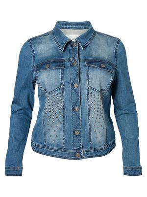 Cool denim jacket with stud detailing from JUNAROSE. #junarose #denim #jacket #studs #plussize #fashion