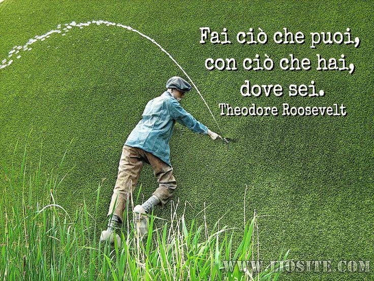 Fai ciò che puoi, con ciò che hai, dove sei. Theodore Roosevelt  #Roosevelt, #TheodoreRoosevelt, #liosite, #citazioniItaliane, #frasibelle, #ItalianQuotes, #Sensodellavita, #perledisaggezza, #perledacondividere, #GraphTag, #ImmaginiParlanti, #citazionifotografiche,
