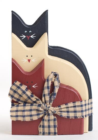 folk art, primitive, and americana wood crafts and wreaths   Primitive Americana Painted Wood Cats Grouping with Homespun ...