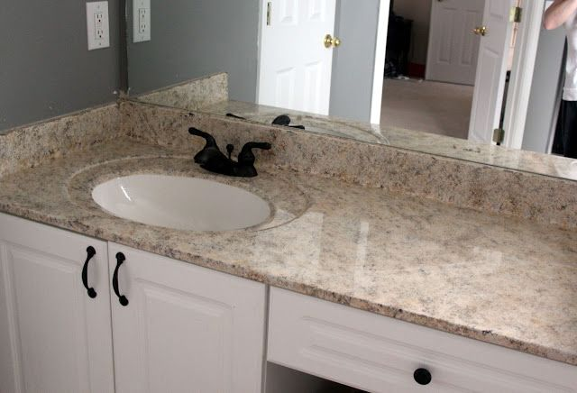 Have to do this in our bathroom! Step by step instruction on how to paint the countertops to look like granite.