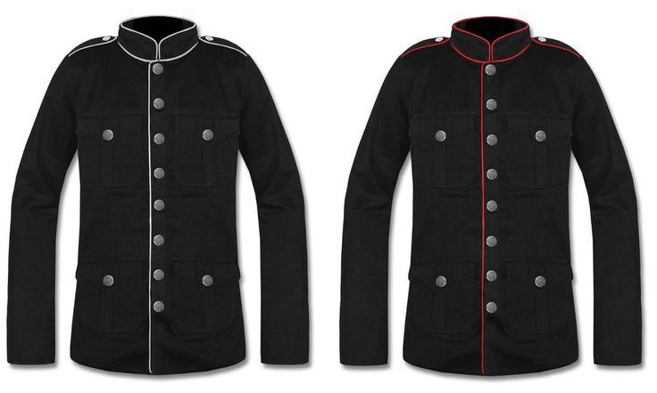 Mens Military Jacket Black Red Goth Steampunk Army Officer Pea Coat Handmade #Handmade #Military
