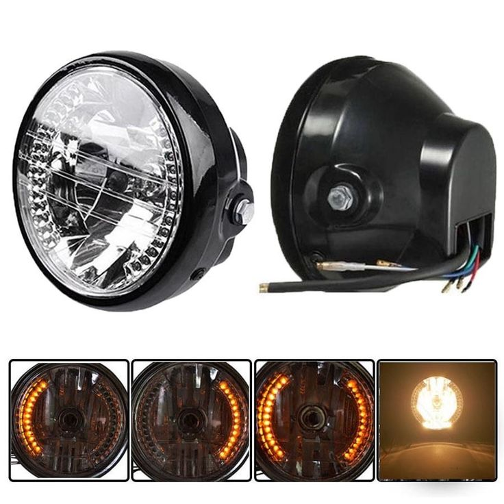 Motorcycle 35W H4 Hi/Low Halogen Headlight W/ Amber LED Turn Signal Lamp Fits For CG125 GN125 CG200 Cafe Racer Bobber Custom
