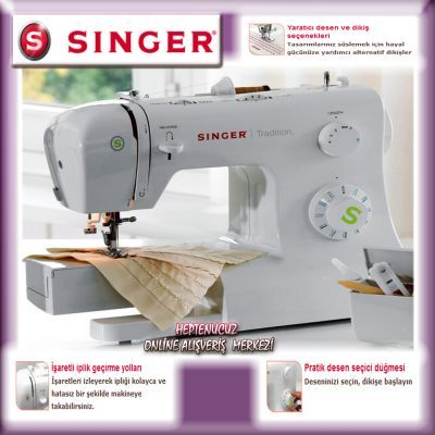 Singer Tradition 2273 Dikiş Makinesi Dikiş makineleri • 23 değişik dikiş ve dekoratif desen • Ayarlanabilir zigzag genişliği • Esnek dikiş • Singer