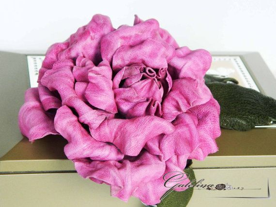 Leather  pink rose  pin brooch hair hat clip.Corsage by Galelina