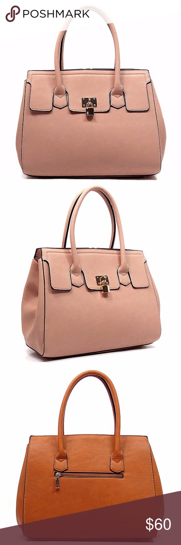 Womens Satchel Bag Pink Designer inspired handbag Faux vegan leather Zip top closure Gold-tone hardware Detachable shoulder strap L 14 * H 11 * W 5 (6 D) Pink  Weight (lbs.):3 Bags Satchels
