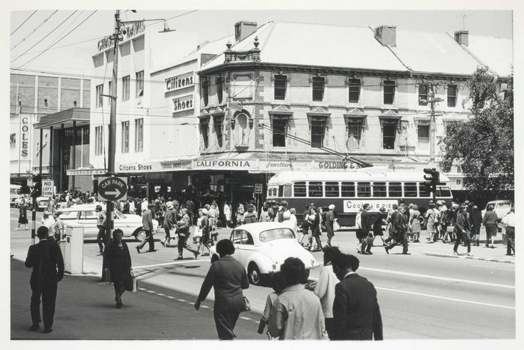 Image result for Tasmania In The 1960's View of Elizabeth St. Coles in the back ground.