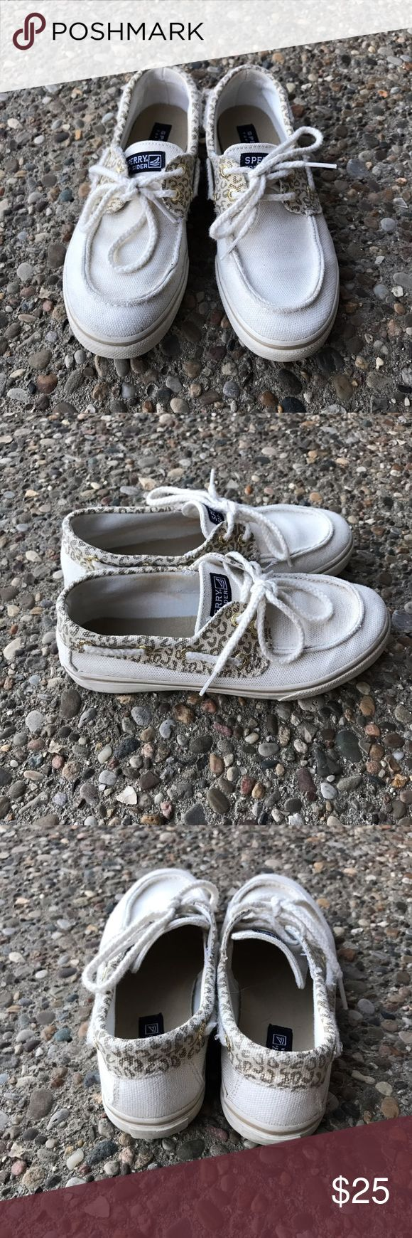 Authentic White Sperrys with Gold Leopard Print Completely authentic white sperrys with metallic gold and white leopard accents. Worn 5-6 times. Sperry Top-Sider Shoes