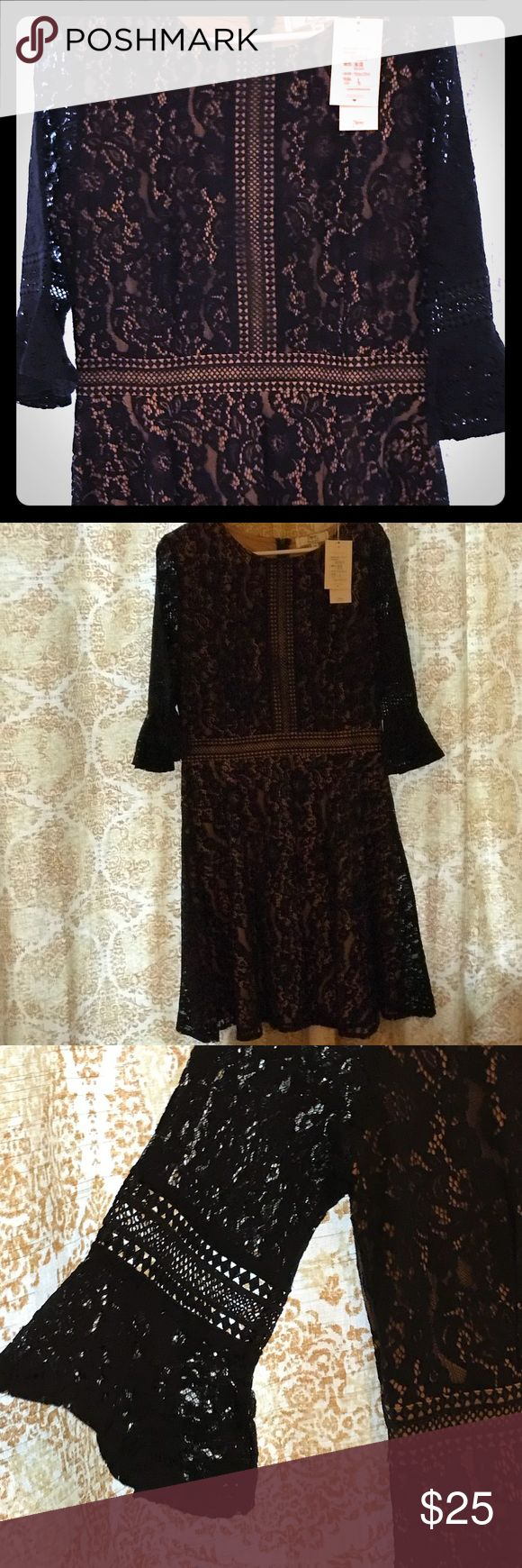 """NWT Women's Vintage Lace Contrast A-Line Dress Stunning navy lace  dress with a gold """"silky"""" lining. Beautiful lace sleeves in a-slight bell shape , zipper in back, waist defining. 18.5"""" armpit to armpit. 46"""" long from back neckline. 15"""" waist laying flat. Miss May Dresses"""