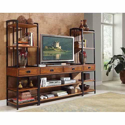 Details about Entertainment TV Stands Unit Towers Set Wood Oak Metal for 52″ LED Smart Center