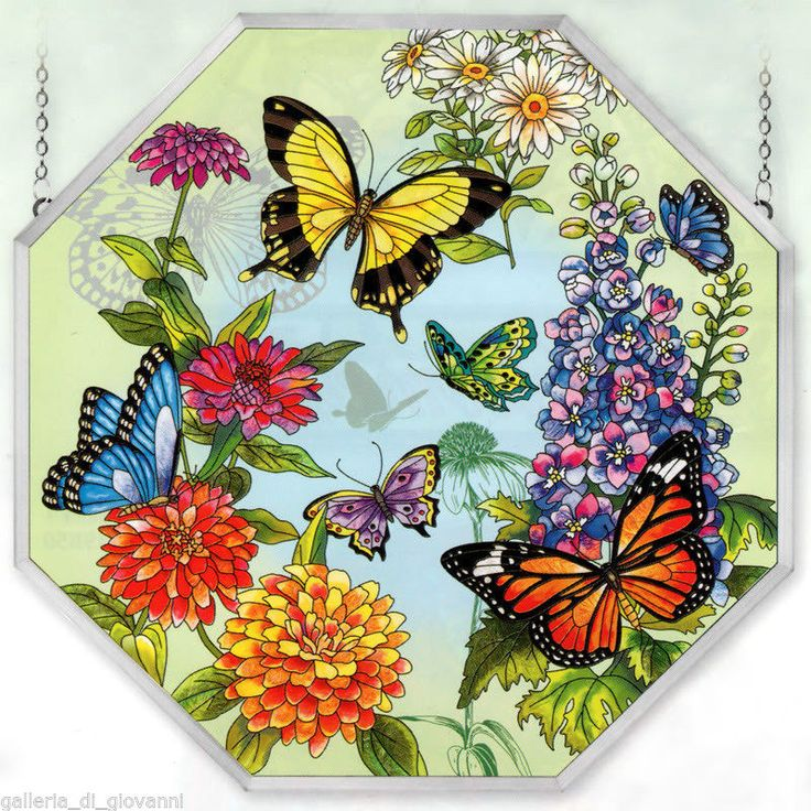 Amia 5694 Window Decor Panel, Butterfly Garden In Bloom Design,  Hand Painted Glass, W By L