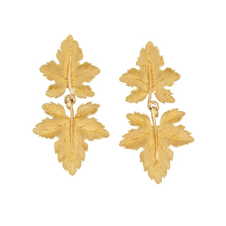 Pair of Gold Leaf Pendant-Earrings, Buccellati