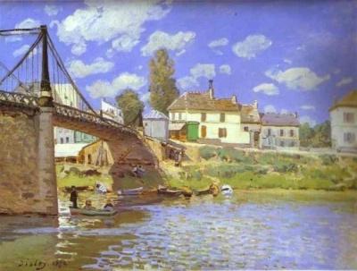 Alfred Sisley (1839-1899): Villeneuv La Garenn, Alfred Sisley, Villeneuve La Garenn, Impressionist, Canvas, The Bridges, Painting, Metropolitan Museums, Villeneuvelagarenn