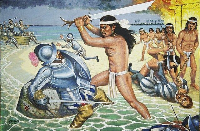 egobirth:  iztac-coatl:    Battle of Mactan by Manuel Pañares   Filipino warrior Lapu-Lapu kills Spanish conquistador Magellan  finish him!!!   Amazing Art