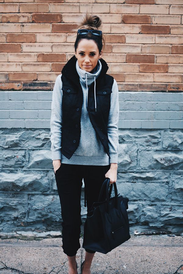 Athletic look: Hoodie: H&M / Similar HERE Vest: G Star Pants: James Perse Shoes: Vince Bag: Balenciaga...