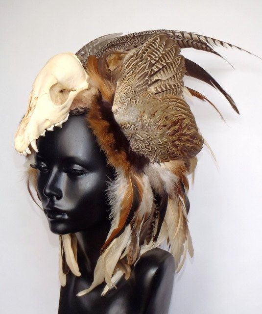 Animal Skull Feather Headress by MissGDesignsShop on Etsy, $350.00