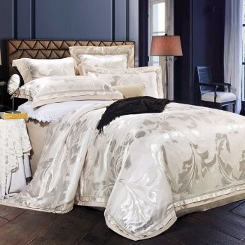 Gloss White Rococo Pattern Contemporary Wedding Themed Elegant and Romantic Noble Excellence Jacquard Full, Queen Size Bedding Sets