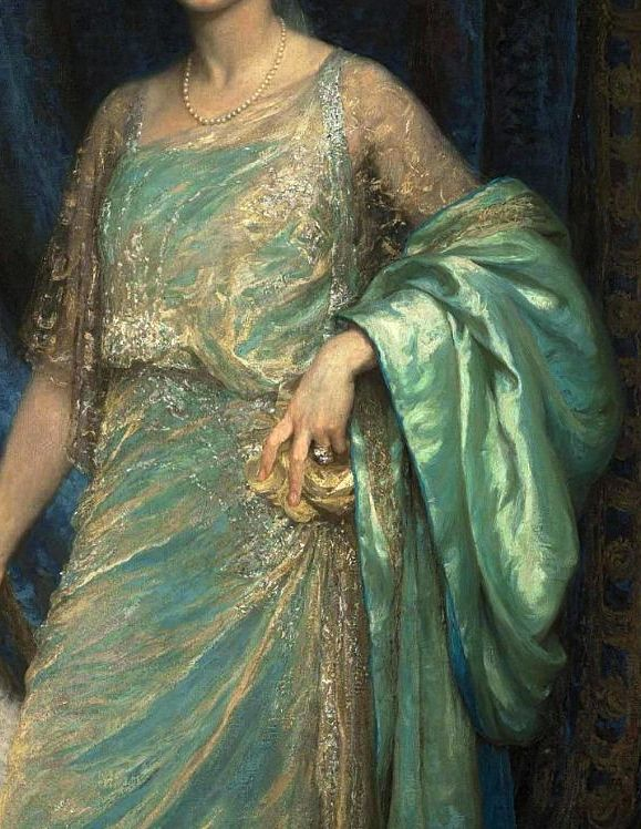 Portrait of Mrs. Norman Holbrook, in a Turquoise Dress and a White Fan (detail), 1921, by Sir Francis Bernard Dicksee (1853-1928).
