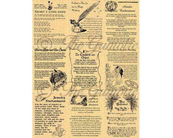 Enchantement sorts - Lot de 9 livre des ombres Pages - comme Charmed - véritable sorcellerie - Wiccan - sorts magiques