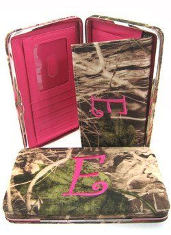 """Soft Camo Initial """" E """" Thick Flat Wallet Clutch Purse Hot Pink Camoflauge scarlettsbags. $20.99"""