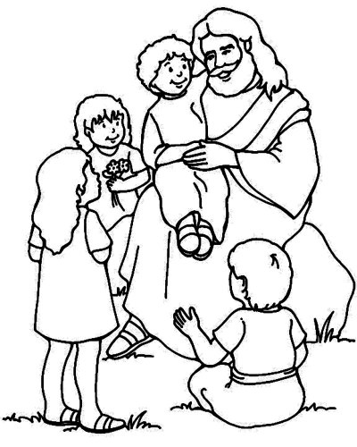 jesus loves the little children coloring page - Bible Coloring Pages For Kids