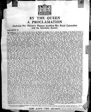 The Proclamation by Queen Elizabeth II announcing Her Royal Coronation date of 2 June 1953. Posted up outside Mansion House in the City of London, issued on 6 June 1952 ©TopFoto