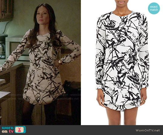 Joan's black and white brushstroke print dress on Elementary.  Outfit Details: http://wornontv.net/49043/ #Elementary