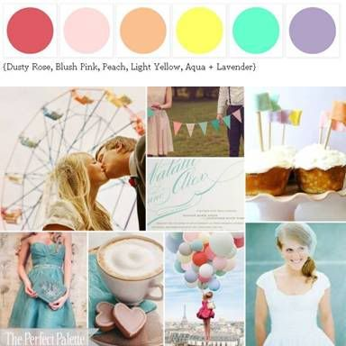Color Scheme: pastel candy colors (change the aqua to a dusty aqua color and the bright yellow to more of an antique gold and it could be shabby chic)