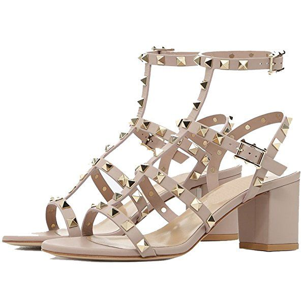 31ae4ac81 Amazon.com | Sandals For Women, Rivets Studded Strappy Block Heels Slingback  Gladiator Shoes Cut Out Dress Sandals | Heeled Sandals