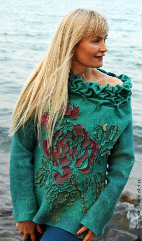 Купить Свитер валяный Любимые розы - морская волна, цветочный, свитер валяный, войлочный свитер