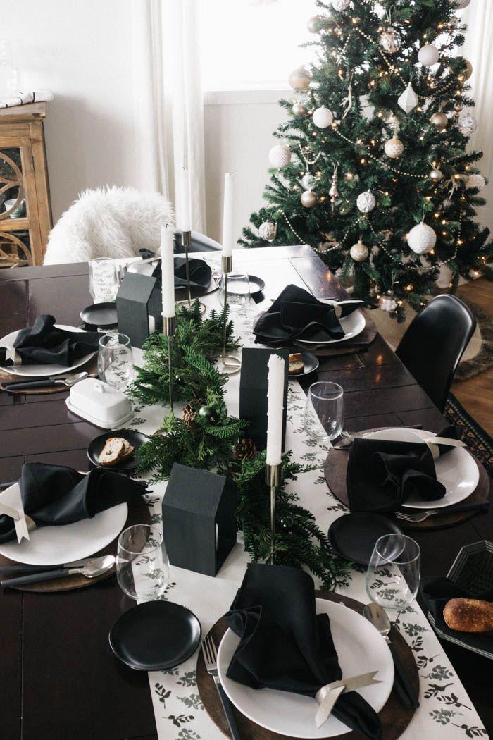 A Christmas Tablescape A Diy Table Runner Love Create Celebrate Table Runner Diy Christmas Table Settings Diy Table