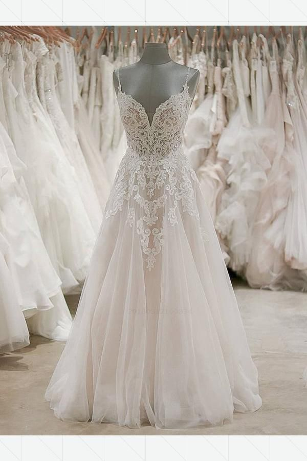 Cheap Distinct Lace Wedding Dresses, Open Back Wedding Dresses, A-Line Wedding Dresses, Long Wedding Dresses