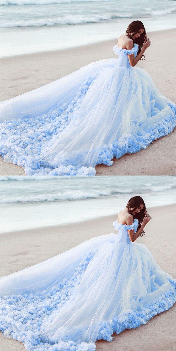 Off The Shoulder Tulle Flower Wedding Dresses Ball Gowns Baby Blue Wedding Dresses Blue Wedding Dresses Ball Gowns Wedding