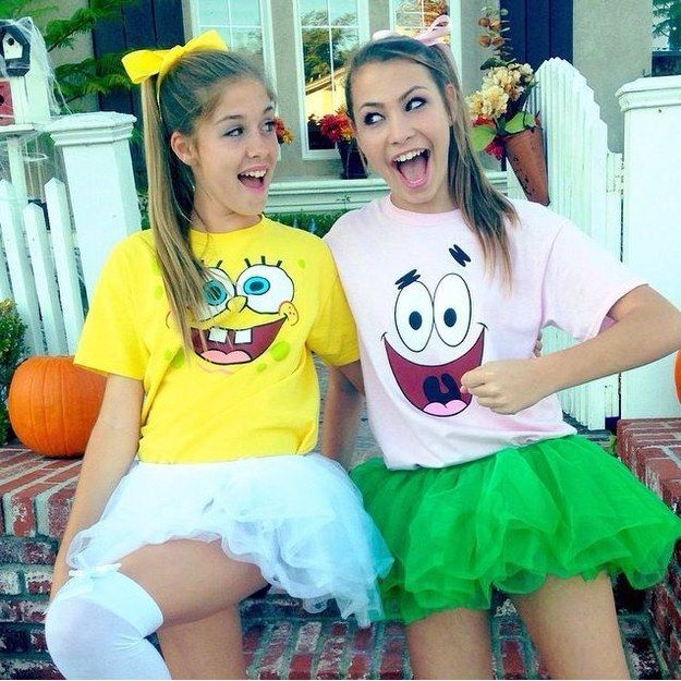 Sponge Bob and Patrick | 32 Amazing DIY Costumes That Prove Halloween Is Actually Meant For Teens