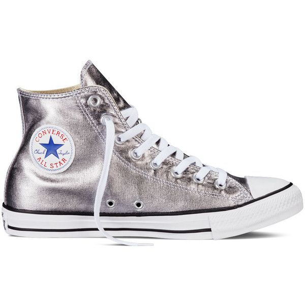 Converse Chuck Taylor All Star Metallic – gunmetal Sneakers (€58) ❤ liked on Polyvore featuring shoes, sneakers, gunmetal, converse footwear, polish shoes, converse trainers, gunmetal shoes and metallic sneakers