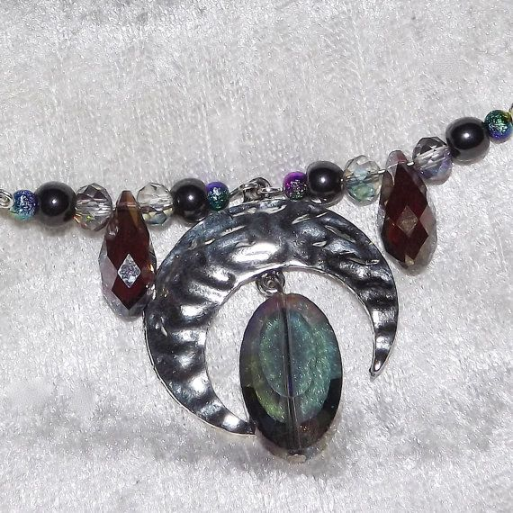 Tiara / Coronet  Moon Drop  Gemstone and Glass   by KasumiCrafts