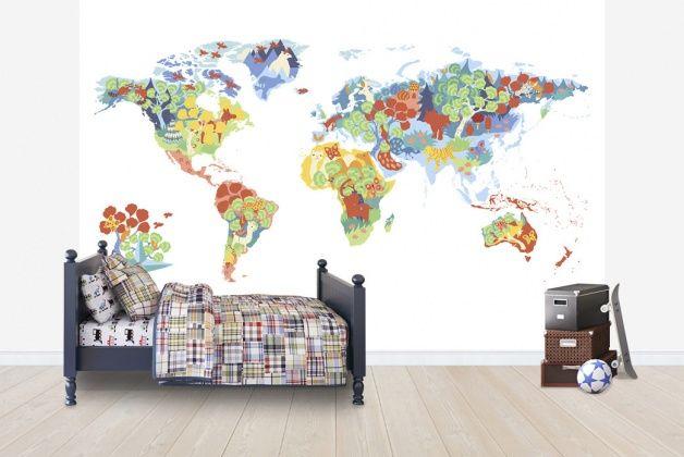 Världskarta, tapet barnrum