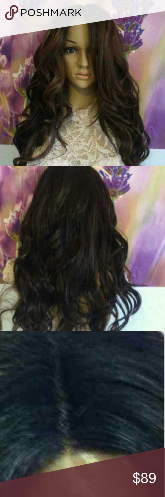 """Dark brown Lace front wig Ombre Dark Roots To Two shades of brown.   24 """"  You will be able to use your heated styling tools such as curling irons and blow dryers.   Comes with adjustable cap Combs included. Breathable elastic Wig Cap 2-3 day processing time. Other"""